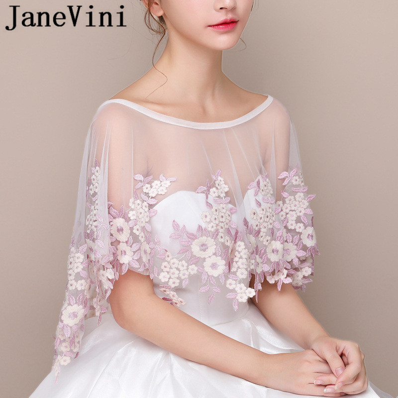 Купить с кэшбэком JaneVini Pink Lace Flowers Bridal Wrap Cape Etole Mariage 2019 White Tulle High Low Bride Boleros Shrug Stoles for Wedding Dress