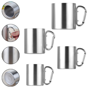 220ml 300ml 350ml 450ml Stainless Steel Cup Camping Traveling Outdoor Cup Double Wall Mug with Carabiner Hook Handle цена 2017