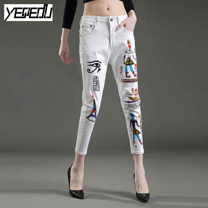 1715 2017 Summer Halon pants women s cowboy girl pencil Ankle length Printed white jeans