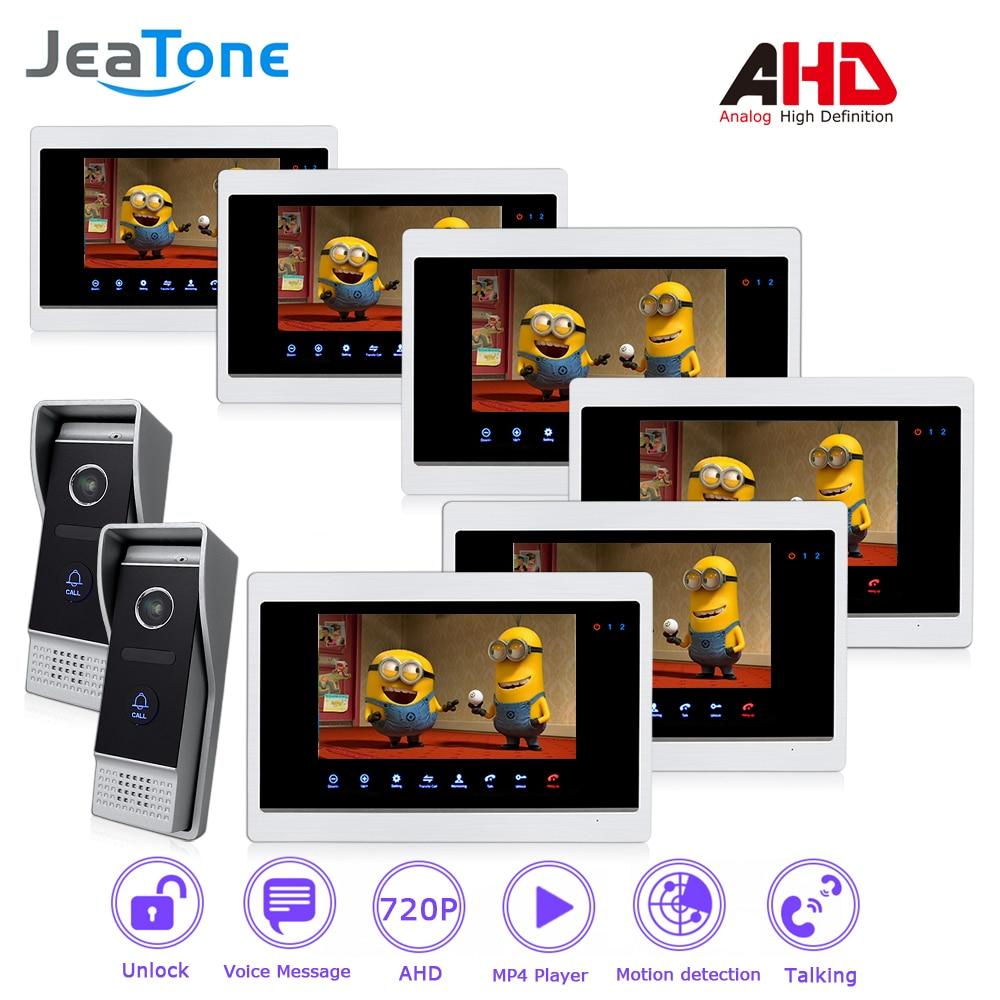 AHD 720P 4 Wired 7'' Video Door Phone Intercom Door Bell Door Speaker Security Motion Detection/Touch Button/MP4 Player/2 to 6 цена