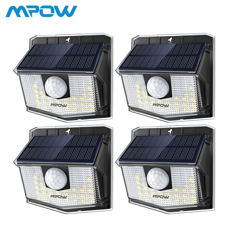 Mpow <font><b>30</b></font> <font><b>LED</b></font> <font><b>Solar</b></font> Light Outdoor PIR Motion Sensor Lights 1/2/4 Pack 19.5% High-efficient <font><b>Solar</b></font> Panel 270 Wide Illumination Angle image