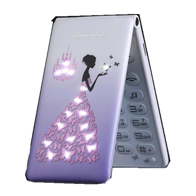 D11 flower Flip Phone With Dual SIM Card Cartoon Breath Light Camera Voiceking Women Girls MP3
