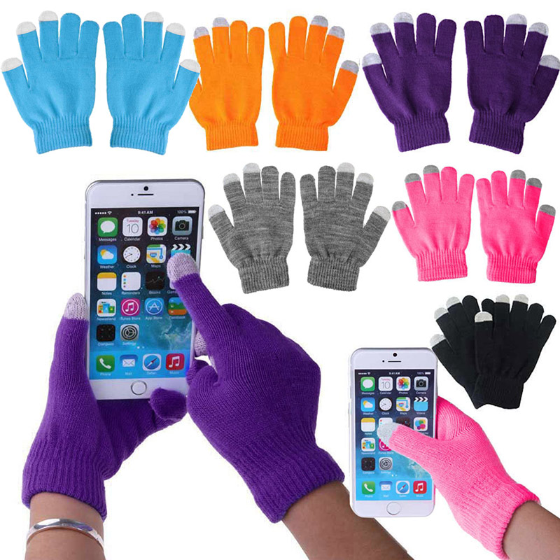 1 Pair Knit Warm Touch Screen Gloves Unisex Winter Warm Capacitive Knit Gloves Hand Warmer For Touches Screen Smart Phone