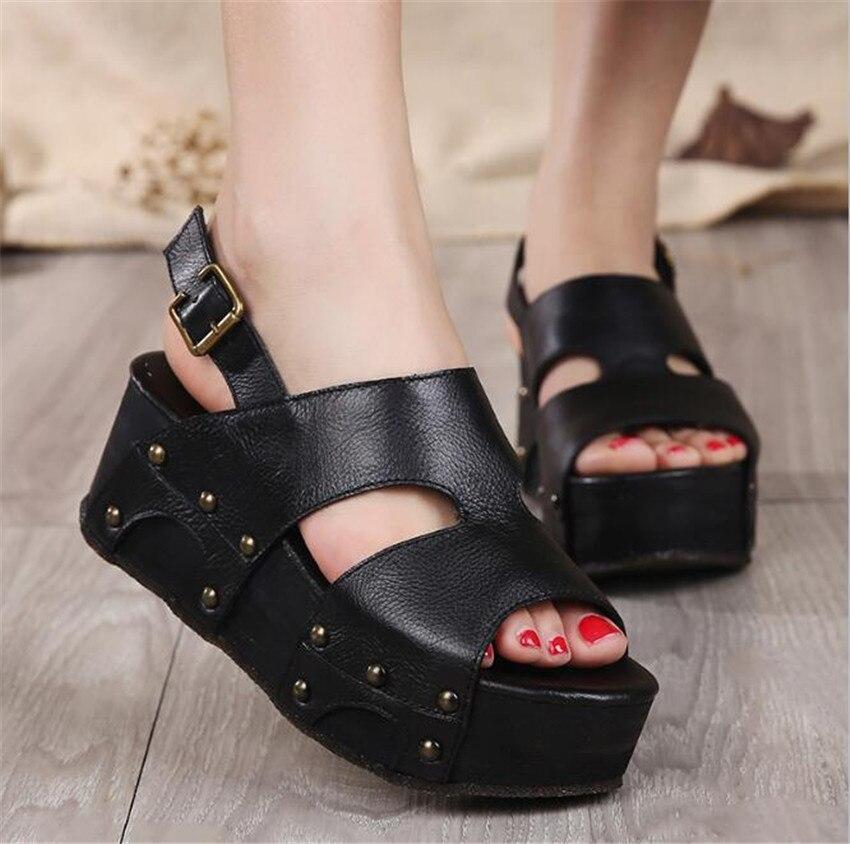MLRCRIYG Summer new women's genuine leather thick bottom handmade sandals