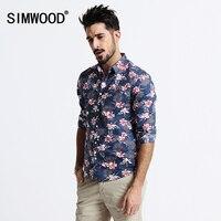 2016 New Arrival SIMWOOD Brand Fashion Autumn Shirt Men Long Sleeved Print Cotton Slim Fit Shirts