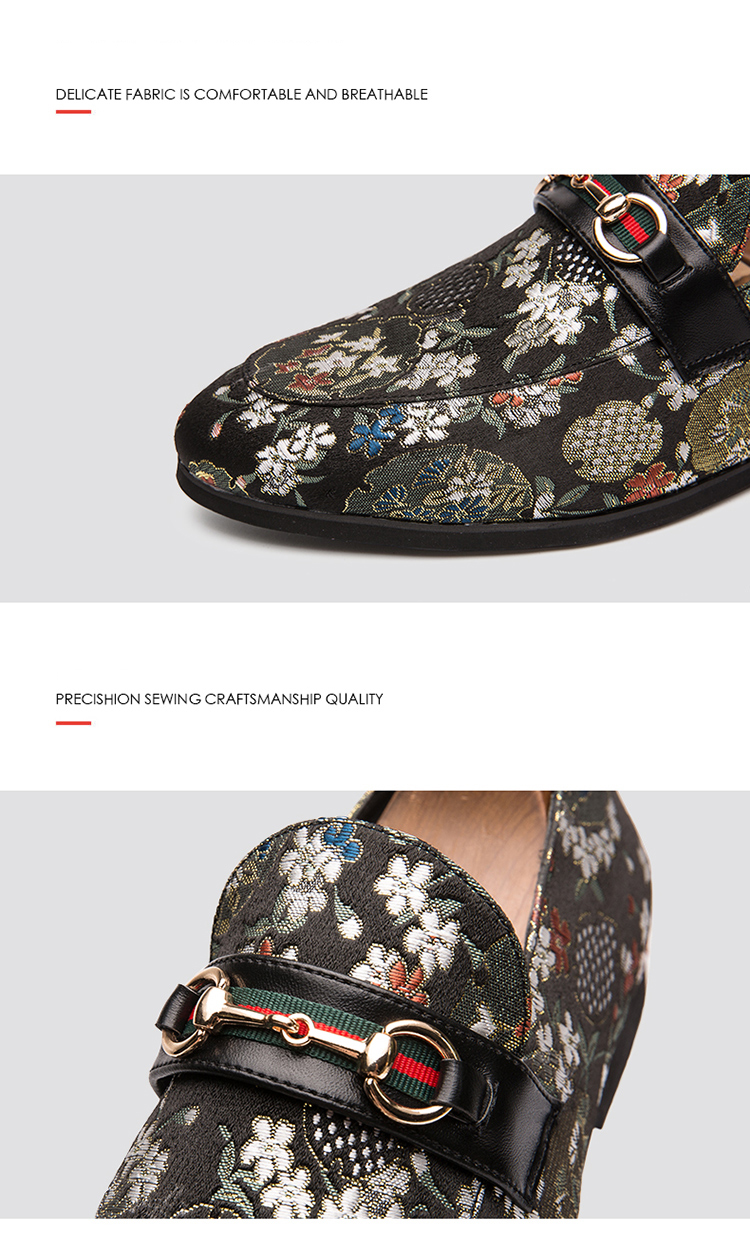 2019 New Brand Formal Shoes Men Leather Shoes Flower Embroidery Slip On Lazy Driving Shoe Office Loafers Mens Canvas Shoes 16