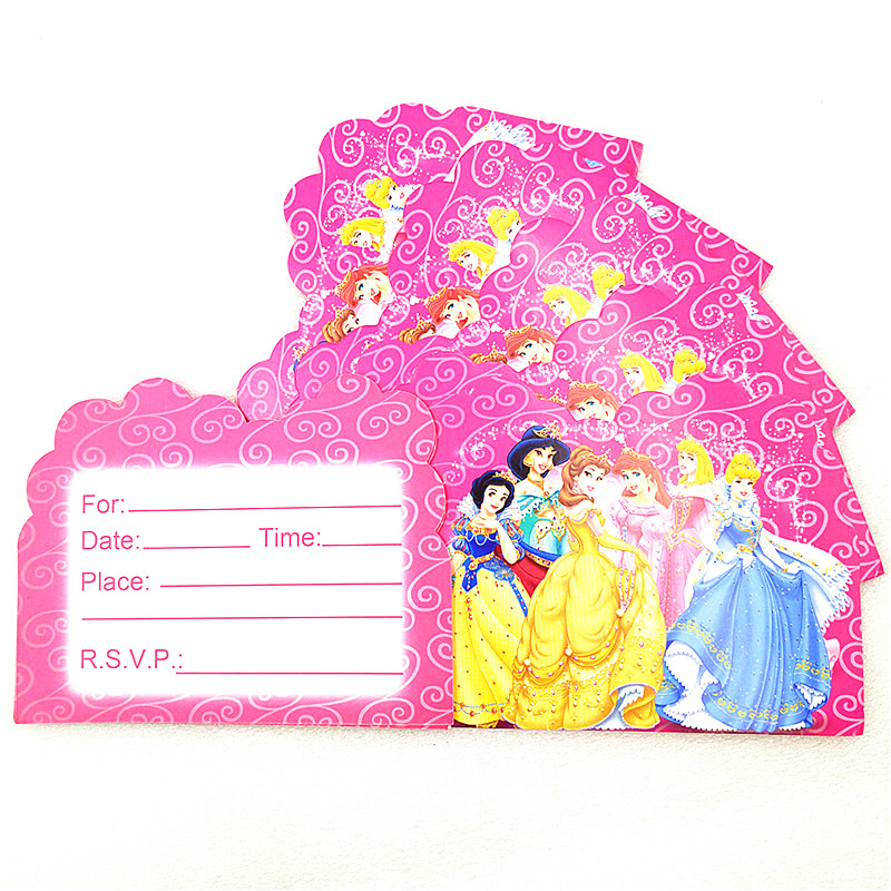 Disney Six Princess Theme Design Aurora 112Pcs/Lot Cute Paper Tableware Pink Straws Birthday Party Noise Maker Decoration Supply