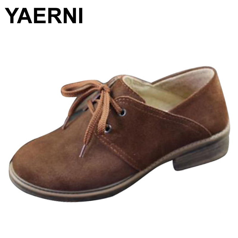 YAERNI  Shoes Women Oxfords Shoes Brown Leather Flat Shoes Round toe Lace up Women Flats 2017 Female Spring/Autumn Footwea cosidram pointed toe women oxfords spring autumn fashion women flats pu leather lace up women shoes ladies 2017 bsn 023
