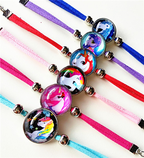 Image 2 - 24pcs/lot Princess Snow White, Rapunzel,Princess Tiana,Ariel,Cinderella Merida glass cartoon bracelets children's bracelets-in Charm Bracelets from Jewelry & Accessories
