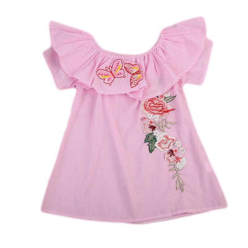 1 до 5 т Вышивка цветок одежда для малышей Детское платье для девочек с открытыми плечами платье в полоску Детские повседневные платья