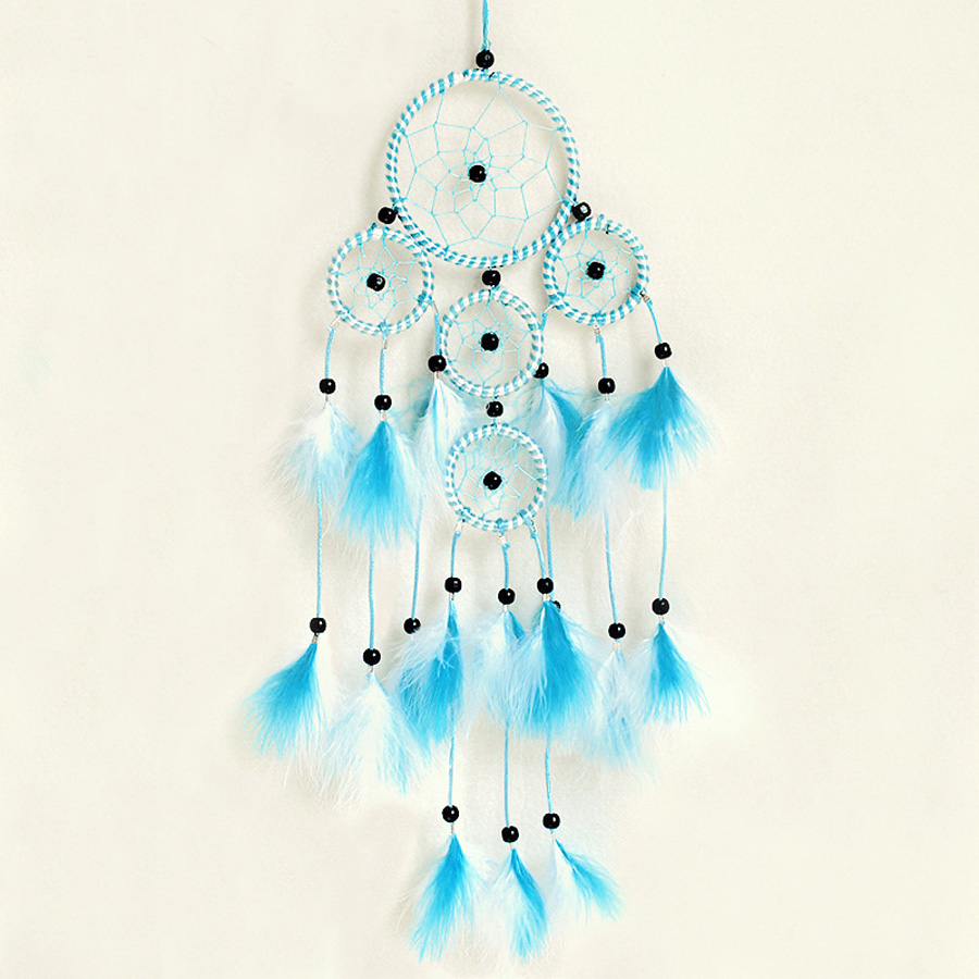 Vintage Enchanted Forest Polycyclic Dreamcatcher Handmade Polycyclic Dream Catcher Net With Feathers Decoration Ornament No.1