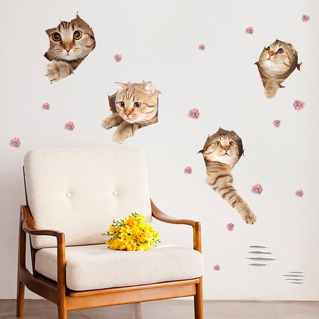 Hole View Vivid 3D Cat Wall Sticker Living Room Bedroom Window Kichen Vinyl  Decals Home Decoration