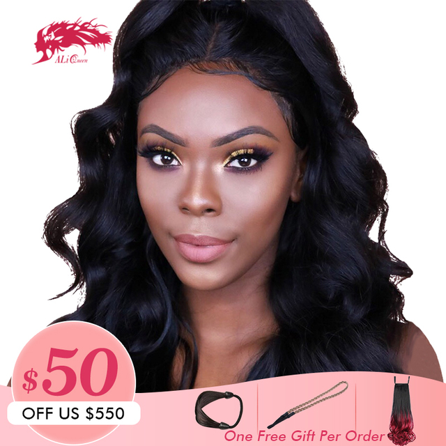 Pre Plucked 13x6 Lace Front Human Hair Wigs Ali Queen Brazilian Remy Body Wave Natural Color / 613 Blonde Lace Front Wigs