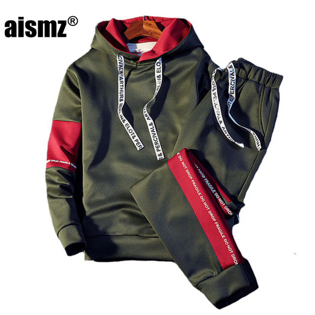 98e8823f3b953 Aismz Brand Tracksuit Men Quality Spring Men Sporting Hooded Hoodie+Pants  Two Piece Sweat Set Jogger Track Suit For Men Clothes