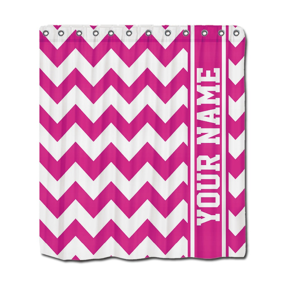 Hot pink shower curtain - Custom Shower Curtains Personalized Pretty In Hot Pink Chevron Pattern 66 X72 Waterproof Shower Curtain