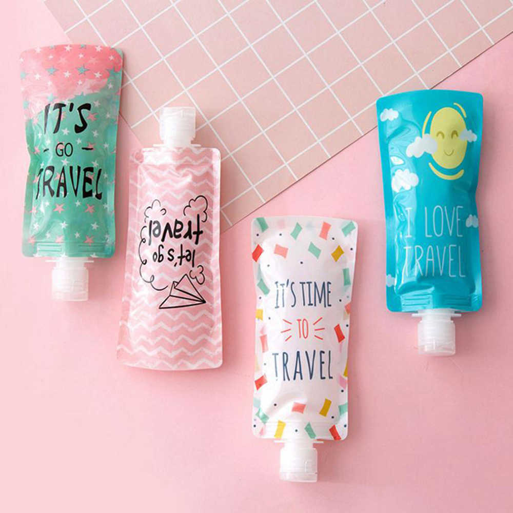 IVYSHION 100ml Travel Liquid Dispenser Bag Mini Shampoo Storage Container Letters Lotion Bottle Squeeze Travel Folding Bag