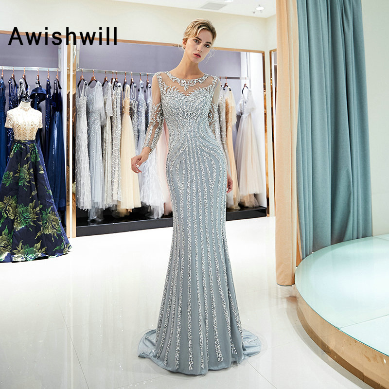 New Arrival Mermaid Long Sleeve Evening Dress Long 2019 Sparkly Beads Sequined Formal Gowns for Women