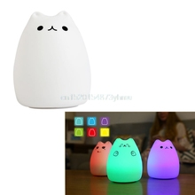 Mejor 1 unid Night Lights USB Gato Niños LED Luz Animal de La Noche Suave de Silicona de Dibujos Animados Bebé Vivero Lámpara de color Variable