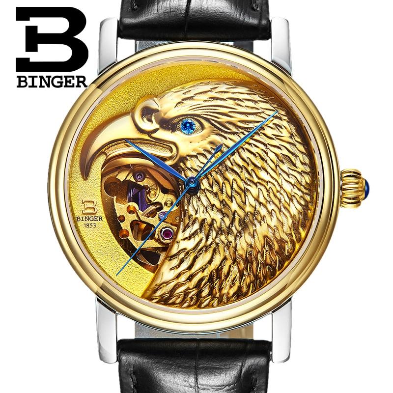 Schweiz BINGER uhren männer Japan 8N24 Automatische Movemt hawk sapphire echtes lederband Mechanische Armbanduhren B8888-in Mechanische Uhren aus Uhren bei  Gruppe 2