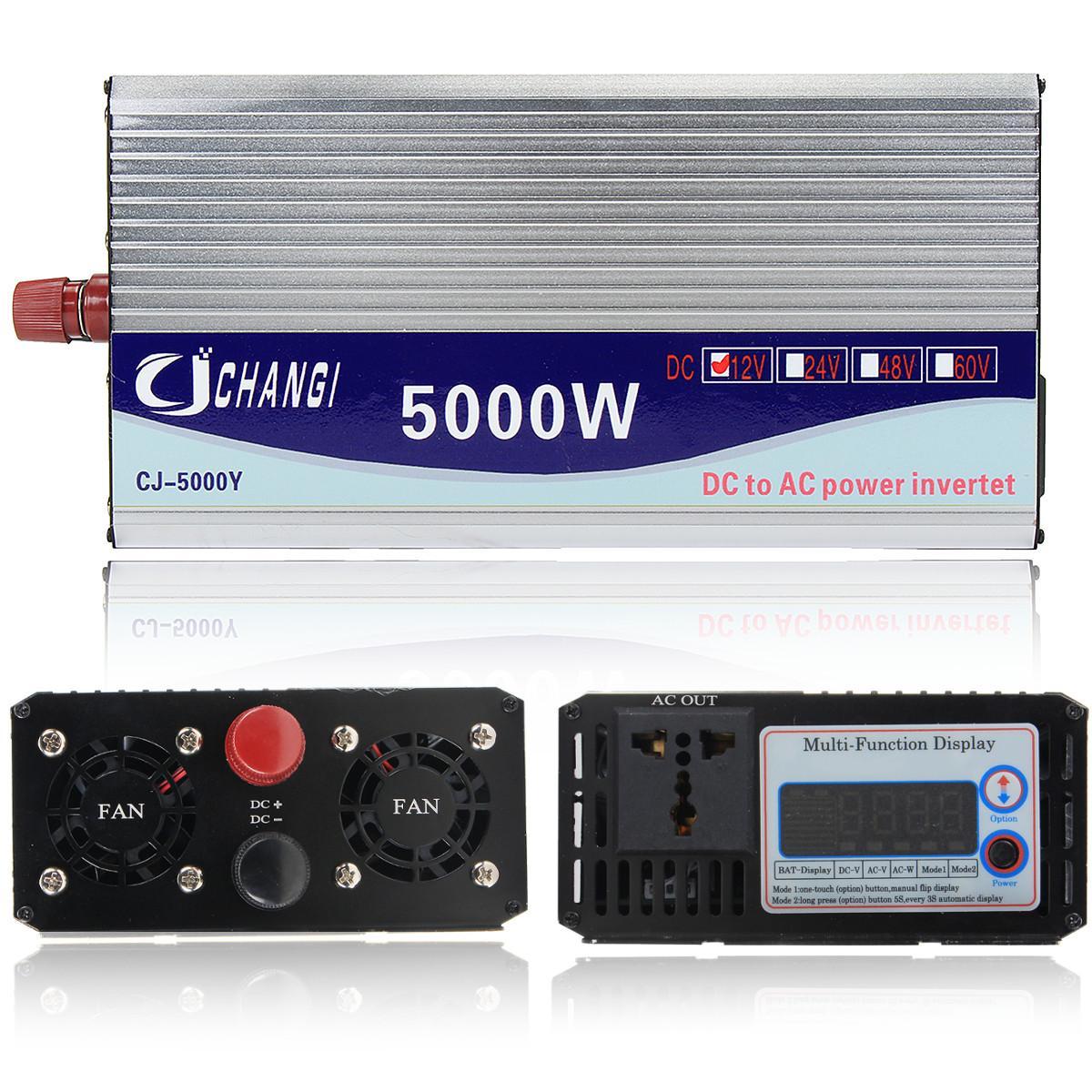 Onduleur 12 V/24 V/48 V 220 V 5000 W 10000 W convertisseur de tension de transformateur de tension sinusoïdale modifiée de crête + écran LCD - 3