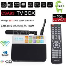 CSA93 Android 7.1 TV Box 3G 32G Amlogic S912 Octa Core Smart Mini PC 2.4G/5.8G Wifi Bluetooth 4 K KODI 17.3 Set Top boîte