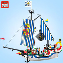 Enlighten Pirate Ship Royal Warships Boat Figures Bricks City DIY Building Blocks Sets LegoINGs Toys for Children Christmas Gift недорго, оригинальная цена