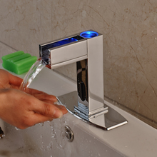 Chrome Bathroom Sink Faucet Automatic Hand Touch Mixer Tap Single Cold Water Tap LED Light With