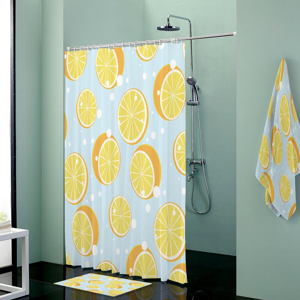 Lemon Soda Custom Shower Curtains Set Towels Shower