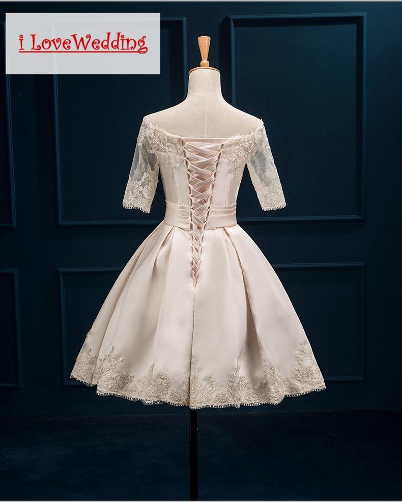 iLoveWedding Bourgondische korte prom dresses Halflange mouw Satijnen - Jurken voor bijzondere gelegenheden - Foto 3