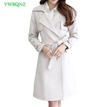 Autumn Winter Women Windbreaker Coat Womens Korean Slim Long Woolen Trench Coats Female Bow Double-breasted Beige Outerwear A748