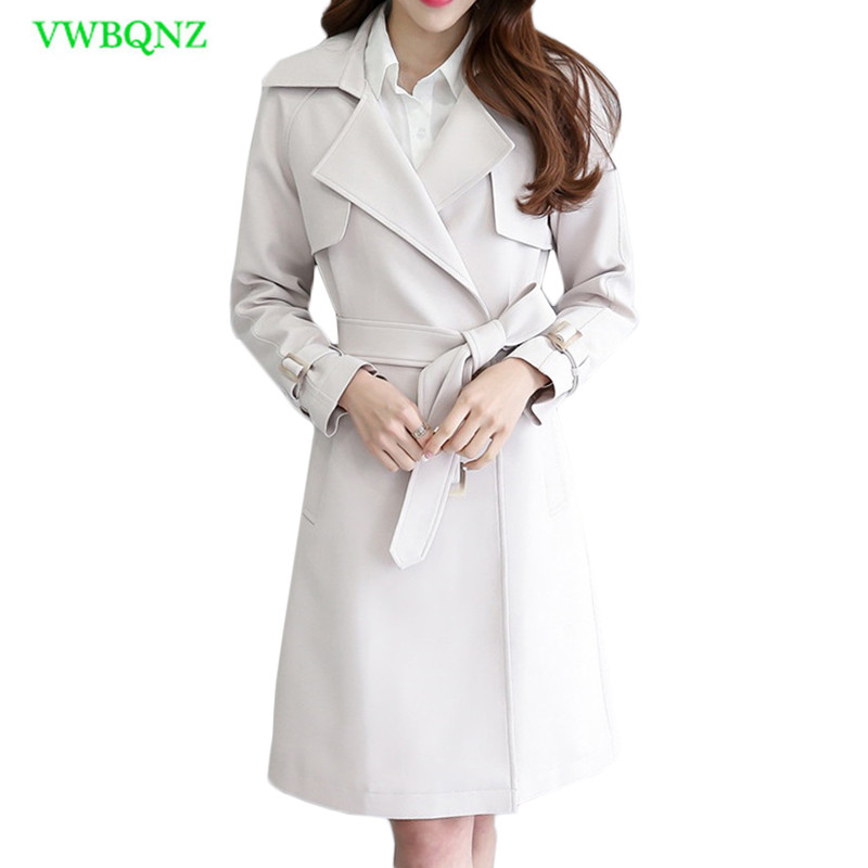 Autumn Winter Women Windbreaker Coat Womens Korean Slim Long Woolen   Trench   Coats Female Bow Double-breasted Beige Outerwear A748