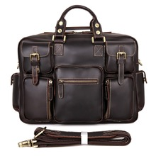 Fashion Smooth Leather Men's Briefcase Laptop Bag Travel Bag 7028Q