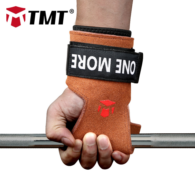 TMT Adjustable Wrist Support Grips Leather Palm Protectors Hand Guards Weight Lifting Barbell Fitness Grips GYM Glove Pull up fitness protective glove hand palm barbell basketball sports men and women riding