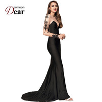 VJ1023 Comeondear Dresses Party Evening Elegant Vestidos Long Floral Embroidery Mesh Long Sleeve Black Vintage Maxi Dresses Long