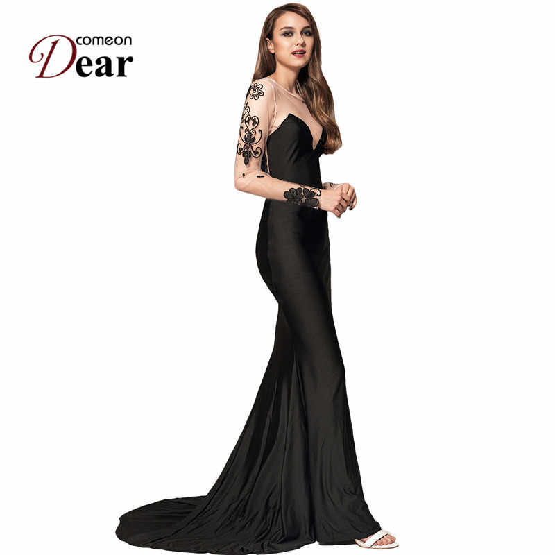 a54cf975f87d5 VJ1023 Comeondear Dresses Party Evening Elegant Vestidos Long Floral  Embroidery Mesh Long Sleeve Black Vintage Maxi Dresses Long
