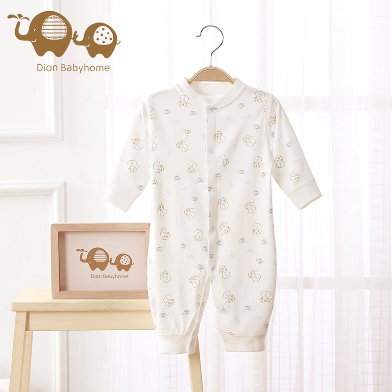 Dion Babyhome Newborn Boys Pure Organic Cotton Long Sleeve Printed Baby Body Clothes Jumpsuit Layette Baby Girl Romper 2pcs set newborn floral baby girl clothes 2017 summer sleeveless cotton ruffles romper baby bodysuit headband outfits sunsuit