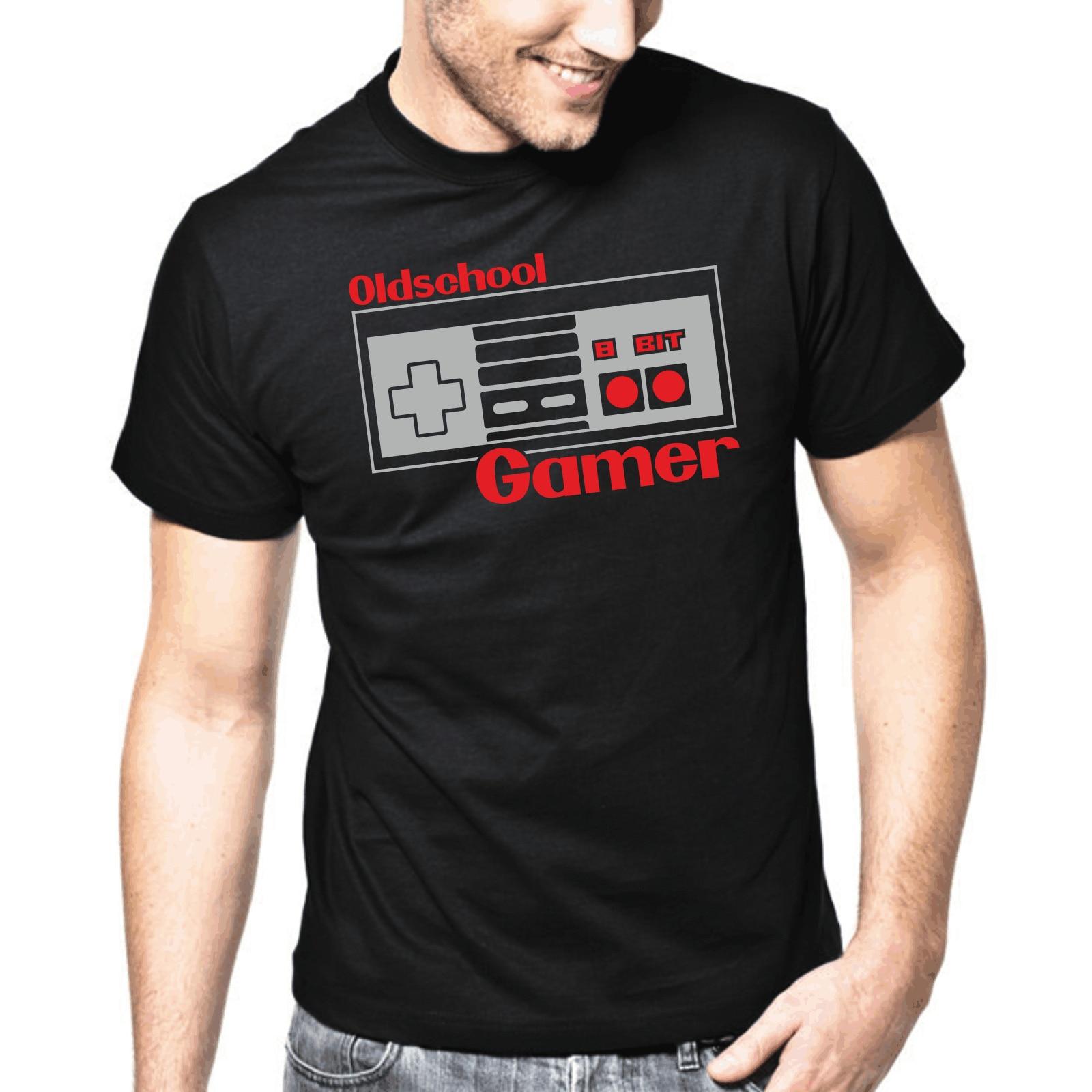 Oldschool Gamer  8 Bit  Retro  Nerd  Gamepad  Geek  Fun  S-XXL T-Shirt Fresh Design Summer Good Quality Funny Casual