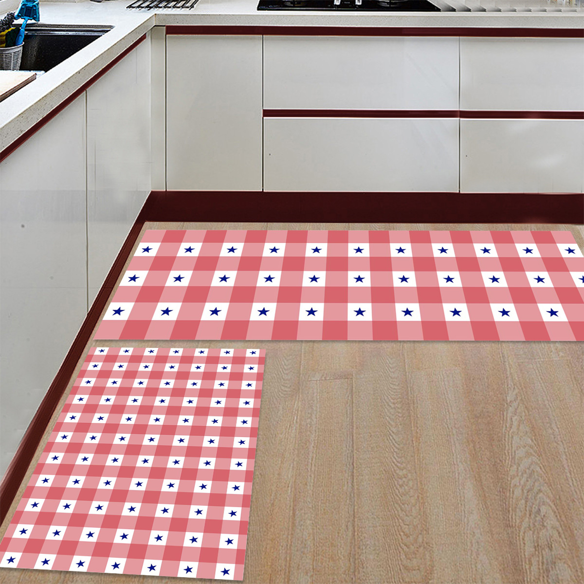 Nordique joyeux noël rouge et blanc Plaid 2 pièces tapis de cuisine paillassons pour entrée manière salle de bains accessoires Set saleté débris - 2