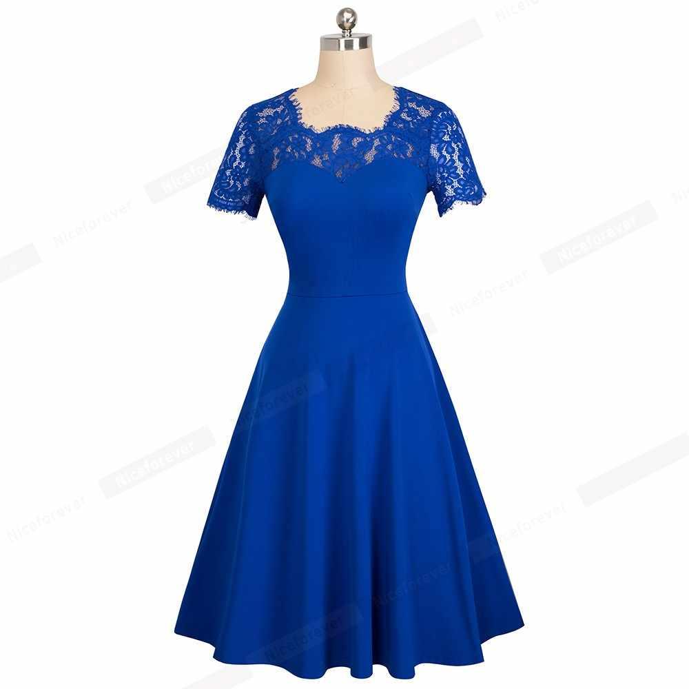 Для женщин летние Fit And Flare элегантный качели Вечерние Королевский Кружева голубое платье HA119