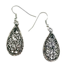 Vintage Hollow Out Water Drop Antique Silver Color Drop Earrings Fashion Jewelry For Women