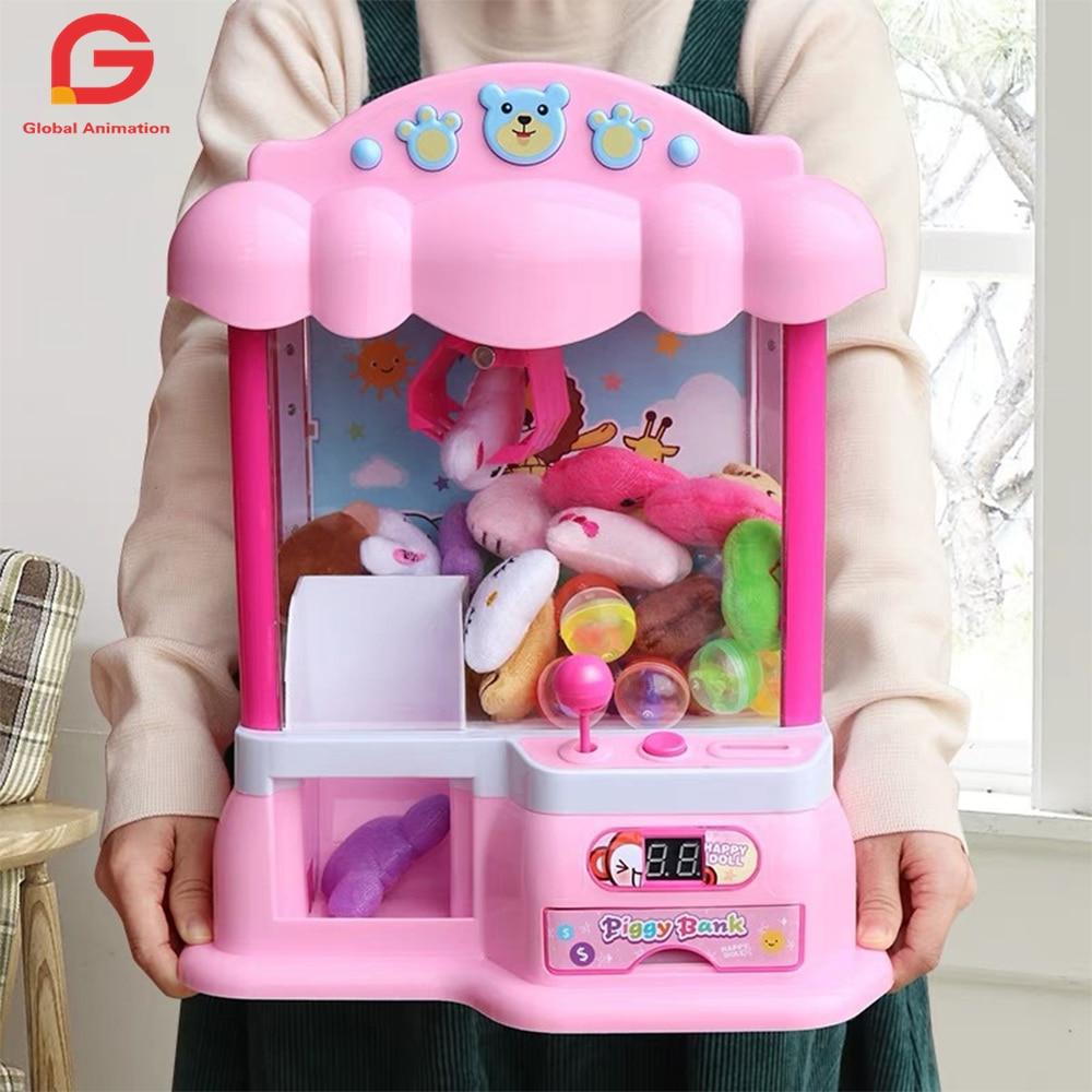 30-38cm características garra eletrônica brinquedo grabber máquina, animação, 4 animal pelúcia, e sons autênticos de arcade para o jogo emocionante