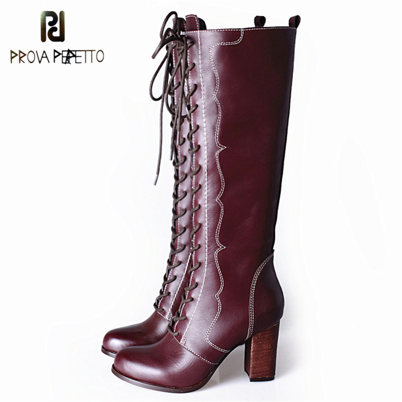 Prova Perfetto New Arrived Lace Up Long Boots Real Leather High Heels Knee High Winter Boots With Plush Inside Warm Cozy Boots