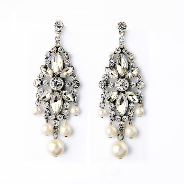 Imitation Pearl Chandelier Drop Earrings Crystal Pave Flower Shiny