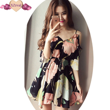 Summer Women's backless flower print cute chiffon split casual beach party dress kimono sexy V-neck fashion sundress vestidos