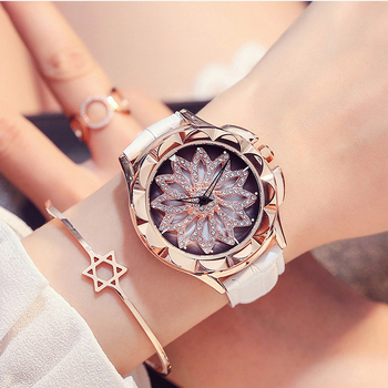 New Watch Ladies Quartz Watch Rotating Scale Layout Dress Watch Women Brand Leather Rose Gold Diamond Student Bracelet Watch Hot diamond stylish watches for girls