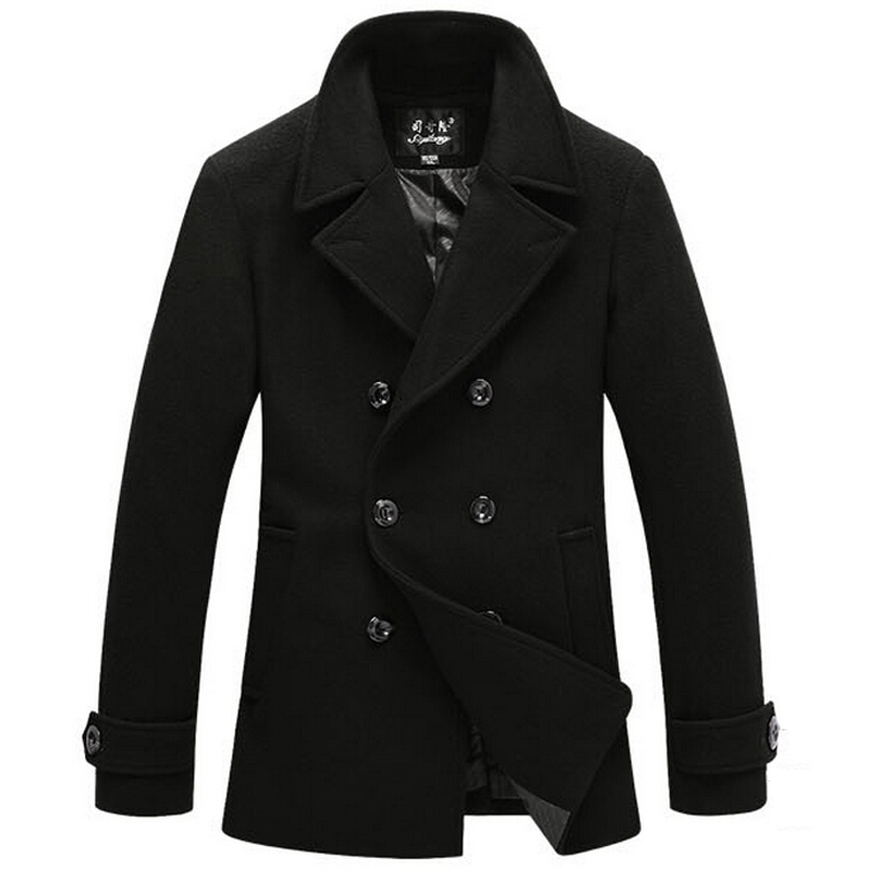 A pea coat that reaches the thighs is called a bridge coat. Some more contemporary pea coats have hoods or belts. Men's navy pea coats are the most popular, and they also come in colors like black, tan, brown, green, and grey.