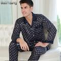 BabYoung 2017 Men Silk Satin Pajamas Sets Thin Section Sleepwear V-neck Long Sleeve Pyjamas Hombre Loungewear Plus Size XXXL