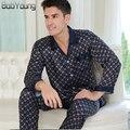 BabYoung 2017 Pijamas Dos Homens Pijamas De Seda De Cetim Conjuntos de Seção Fina Com Decote Em V Manga Comprida Pijamas Loungewear Hombre Plus Size XXXL