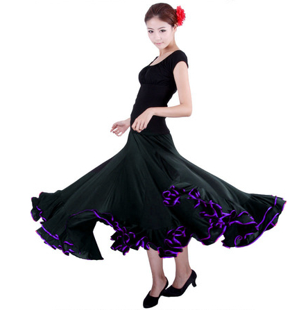 New Arrival Discount Black Lady Women Performance Competition Standard Ballroom Dance Skirts Dress For Ballroom Dancing