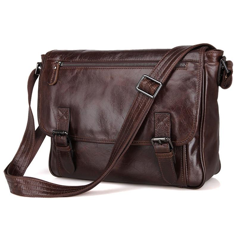 Fashion Oil Waxed Genuine Leather Shoulder Bag Men Messenger Bag Leather Crossbody Bag Sling Leisure Bag